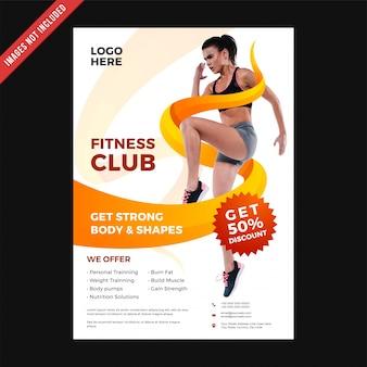 Flyer de club de forme physique et modèle de couverture d'affiche.