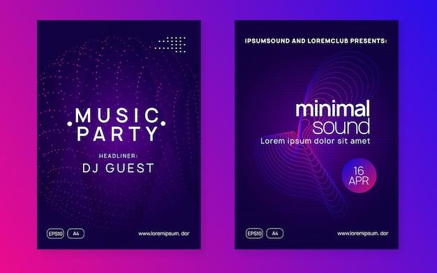 Flyer club néon. musique electro dance. trance party dj. fête du son électronique. affiche d'événement techno.