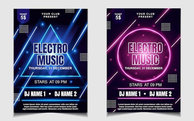 Flyer coloré de musique de soirée dansante au néon