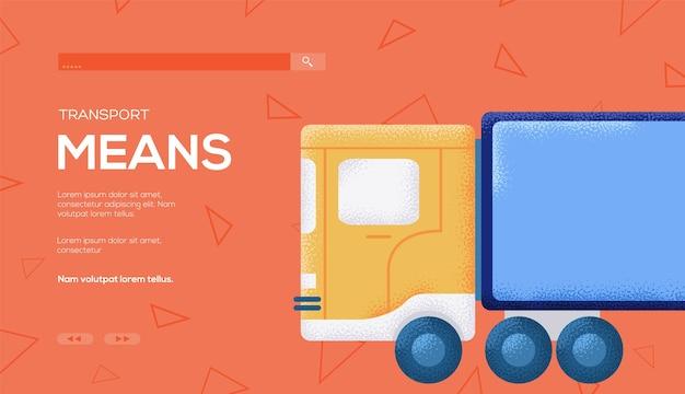 Flyer de concept de camion, bannière web, en-tête d'interface utilisateur, entrez dans le site. .