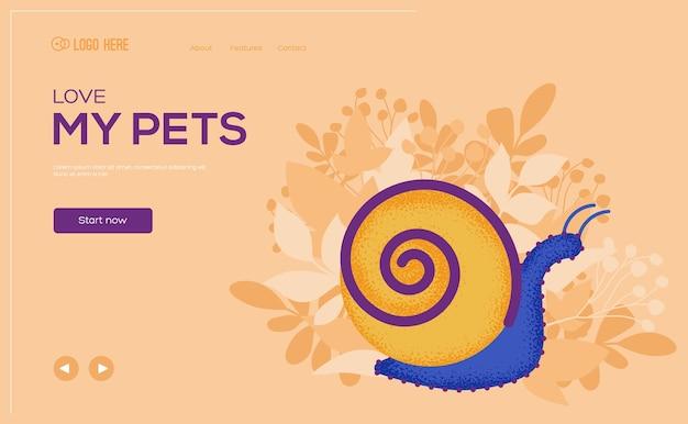 Flyer concept escargot, bannière web, en-tête d'interface utilisateur, entrez dans le site. .