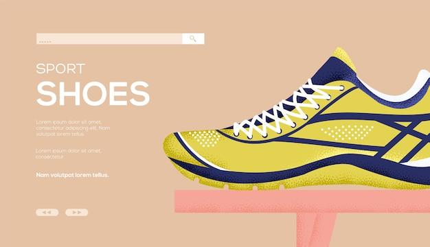 Flyer de concept de magasin de chaussures, bannière web, en-tête d'interface utilisateur, entrez dans le site. .