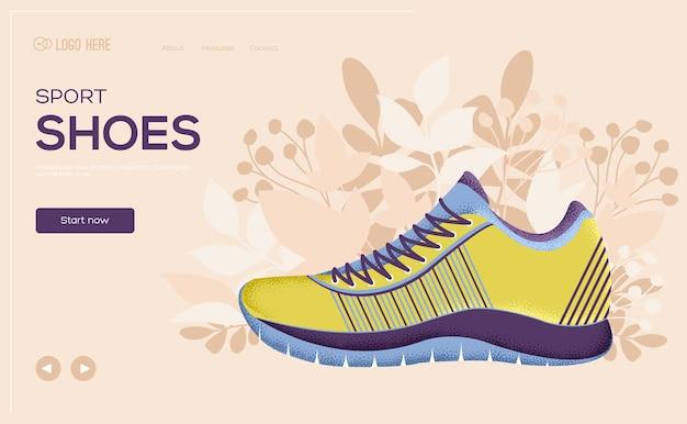 Flyer de concept de magasin de chaussures de sport, bannière web, en-tête de l'interface utilisateur, entrez dans le site. .