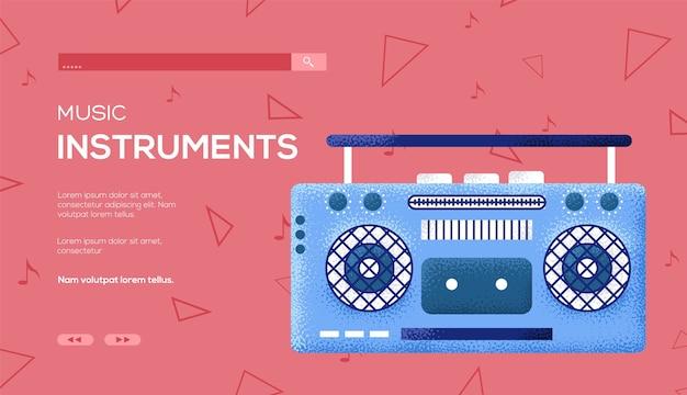 Flyer de concept de magnétophone, bannière web, en-tête d'interface utilisateur, entrez dans le site. .