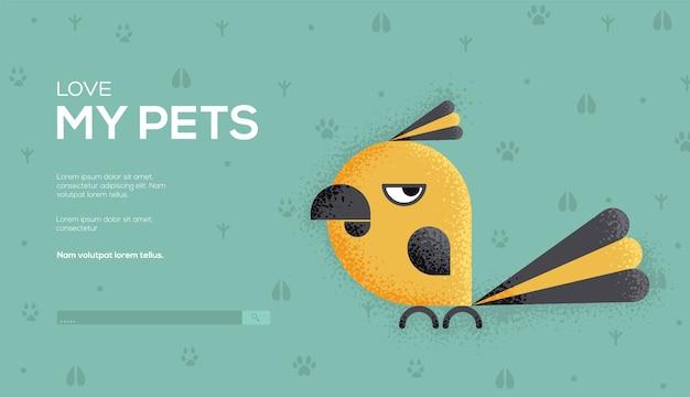 Flyer de concept de perroquet, bannière web, en-tête d'interface utilisateur, entrez dans le site.