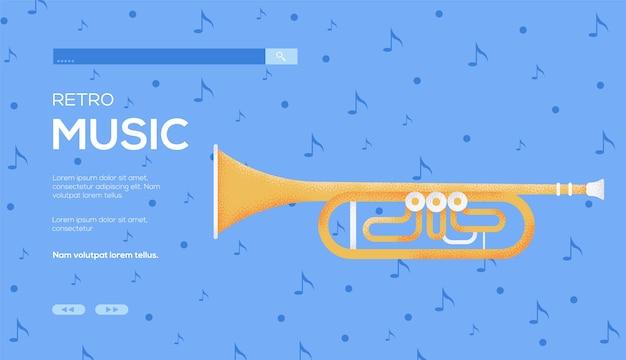 Flyer de concept de trompette, bannière web, en-tête d'interface utilisateur, entrez dans le site. .