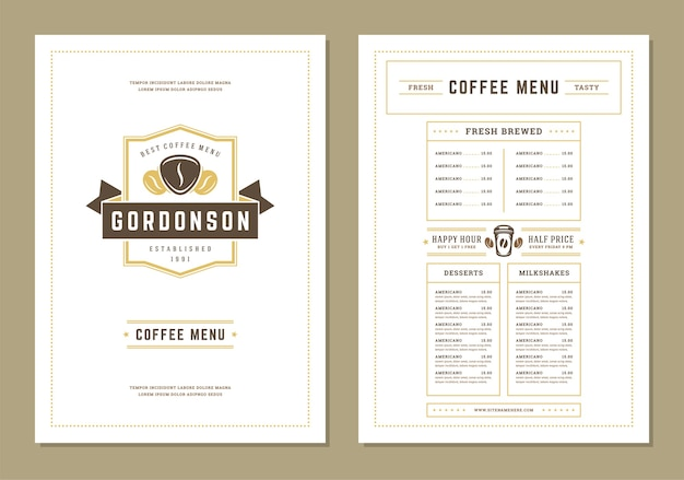 Flyer de conception de modèle de menu café pour bar ou café