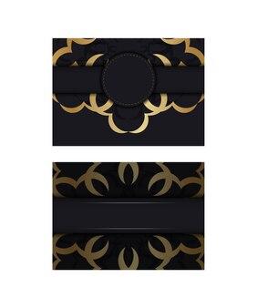 Flyer de couleur noire avec motif mandala doré