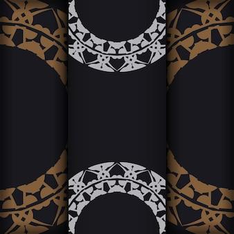 Flyer de couleur noire avec ornement indien marron