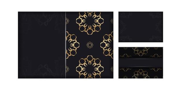 Flyer de couleur noire avec ornement de mandala en or