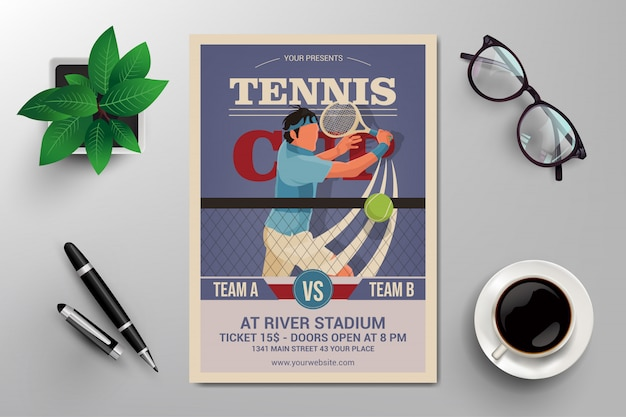 Flyer coupe de tennis