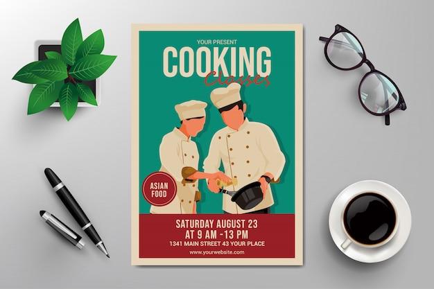 Flyer Cours De Cuisine Vecteur Premium