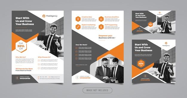 Flyer de création d'entreprise et modèle de conception de bannière
