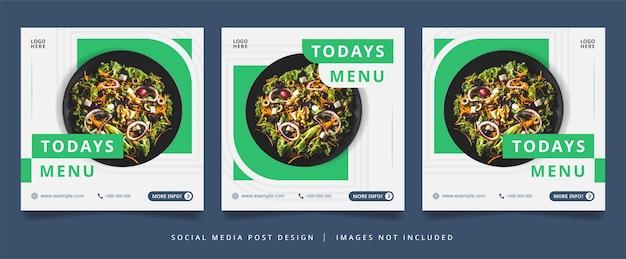 Flyer culinaire vert minimaliste ou bannière de médias sociaux