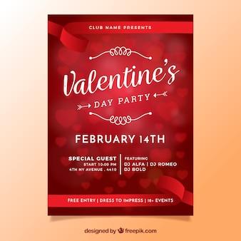 Flyer de la Saint-Valentin floue / affiche avec des coeurs