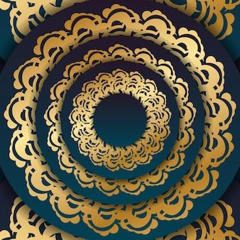 Flyer dégradé vert dégradé avec motif abstrait doré pour votre marque.