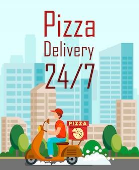 Flyer de dessin animé de livraison de pizza de vingt-quatre heures