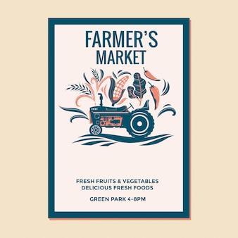 Flyer du marché des agriculteurs avec tracteur vintage de l'agriculteur