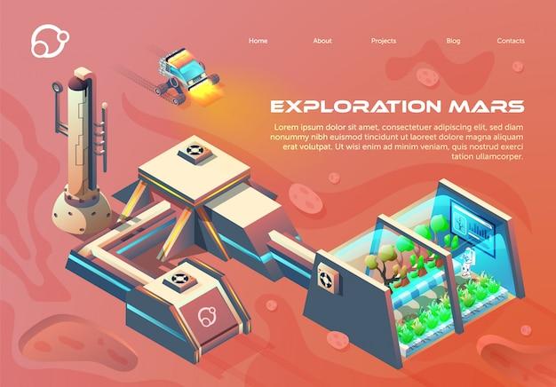 Flyer exploration mars lettrage plat de dessin animé.