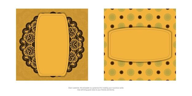 Flyer de félicitations de couleur jaune avec un mandala à motif marron pour vos félicitations.