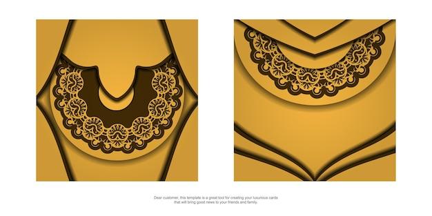 Flyer de félicitations de couleur jaune avec un mandala à motif marron préparé pour l'impression.
