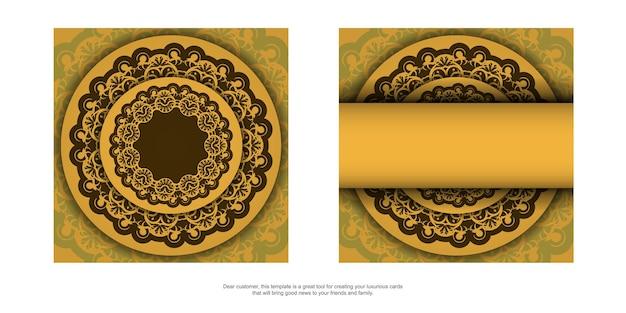 Flyer de félicitations de couleur jaune avec un motif de mandala marron pour votre conception.