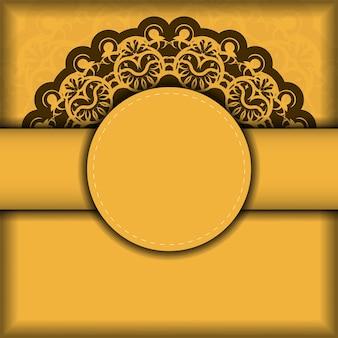 Flyer de félicitations de couleur jaune avec un motif marron abstrait pour vos félicitations.