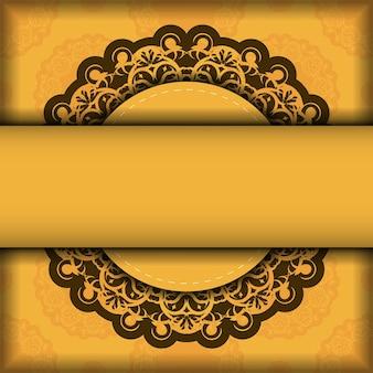 Flyer de félicitations de couleur jaune avec ornement marron abstrait pour vos félicitations.