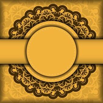 Flyer de félicitations de couleur jaune avec ornement marron abstrait pour votre conception.