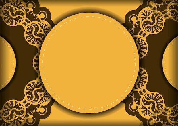 Flyer de félicitations de couleur jaune avec ornement marron indien pour vos félicitations.