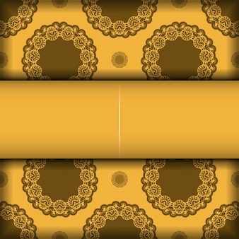 Flyer de félicitations de couleur jaune avec ornement marron mandala pour votre marque.