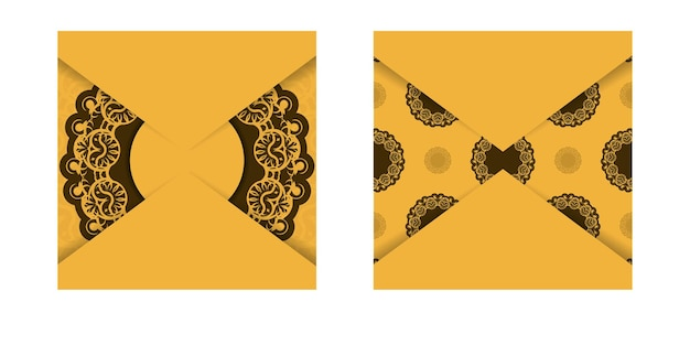 Flyer de félicitations en jaune avec un mandala à motif marron pour votre marque.