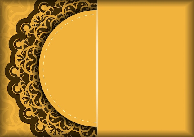 Flyer de félicitations en jaune avec motif marron indien pour vos félicitations.