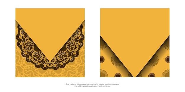 Flyer de félicitations jaune avec ornement marron antique est prêt pour l'impression.