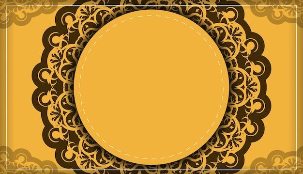 Flyer de félicitations en jaune avec ornement marron indien pour votre marque.