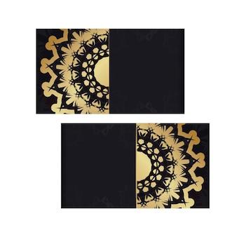 Flyer de félicitations en noir avec de luxueux ornements en or pour vos félicitations.