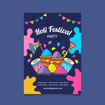Flyer festival dessiné à la main avec un design coloré et de la poudre de peinture