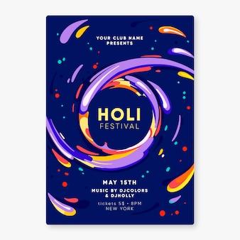 Flyer festival holi dessiné à la main