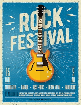 Flyer festival de musique rock. illustration.