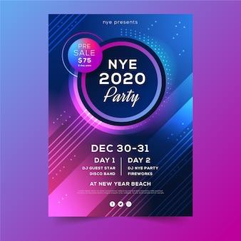 Flyer de fête abstraite vacances d'hiver nouvel an 2020