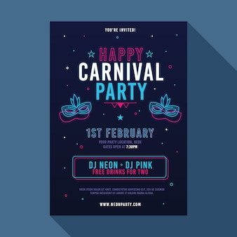 Flyer de fête de carnaval au néon