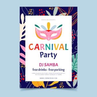 Flyer de fête de carnaval dessiné à la main
