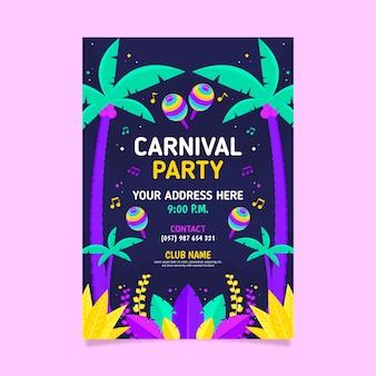 Flyer de fête de carnaval plat coloré