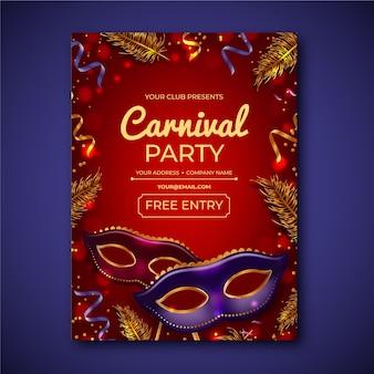 Flyer de fête de carnaval réaliste