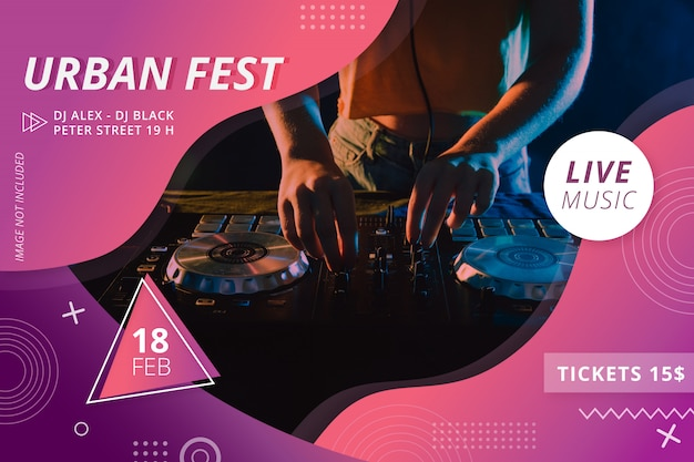 Flyer fête du festival urbain moderne
