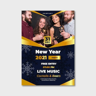 Flyer de fête du nouvel an 2021 avec des amis