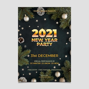 Flyer de fête du nouvel an 2021