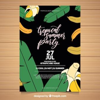 Flyer fête d'été avec des bananes et des plans