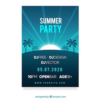 Flyer fête d'été dans le style plat