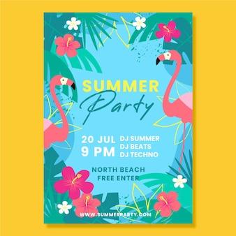 Flyer de fête d'été design plat